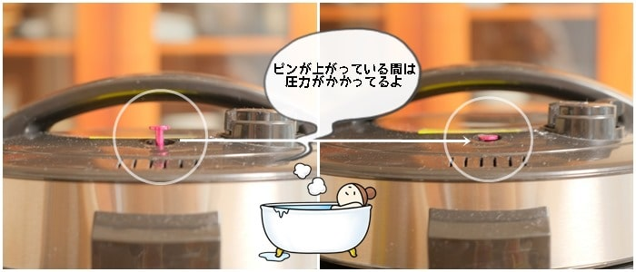 クッキングプロでごはんを炊く際、圧力表示ピンが下がる画像
