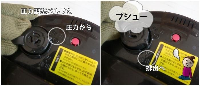 クッキングプロ 圧力調理を強制的にやめる方法